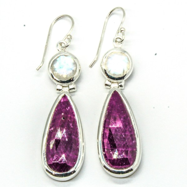 Blue Moonstone and Rubies Silver Earrings