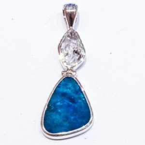 Blue Opal Pendant with Herkimer Diamond