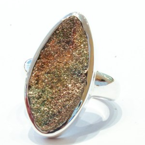 Rainbow Pyrite Ring in Silver