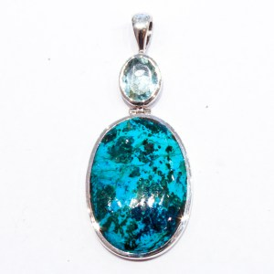 Aquamarine and Chrysocolla Handmade Pendant