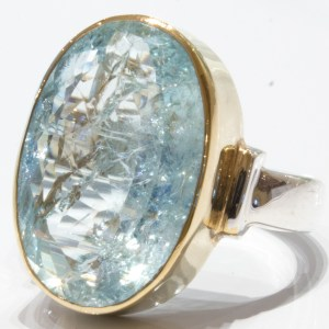 Aquamarine in Gold and Silver Handmade Ring