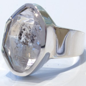Herkimer Diamond Ring Handmade in Silver