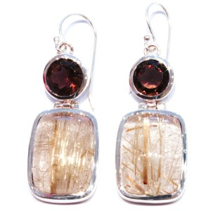 Smoky Quartz and Rutilated Quartz Handmade Earrings