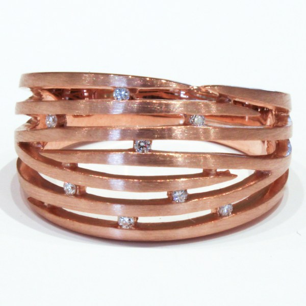 Brushed Rose Gold Ring with Diamonds