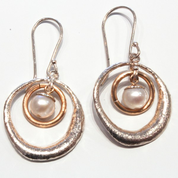 Gold, Silver and Pearls Handmade Earrings
