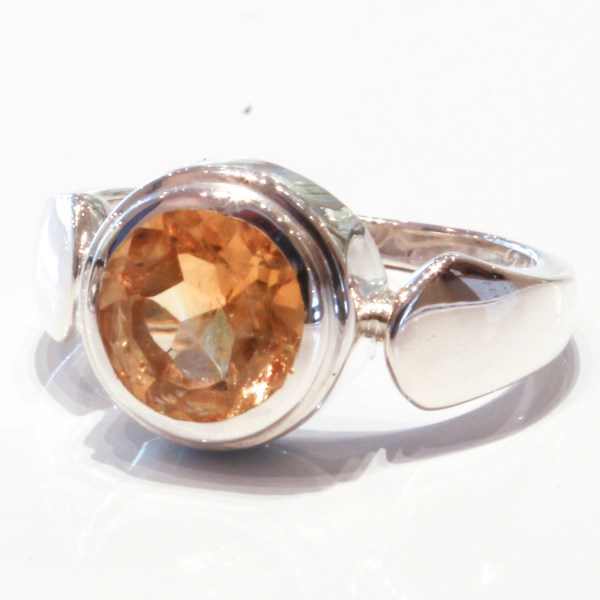 Handmade Contemporary Silver Ring with Citrine