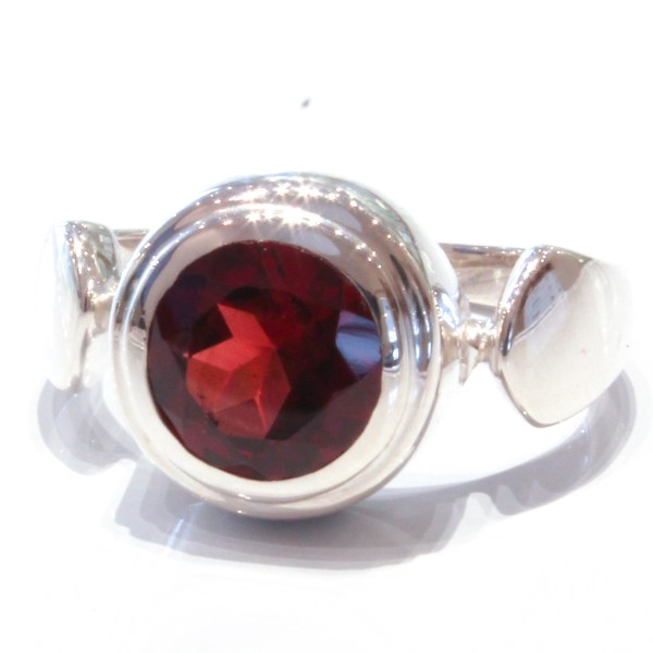 Contemporary Handmade Silver Ring with Garnet