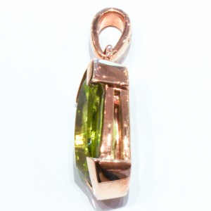 Laser Faceted Peridot Handmade Gold Pendant