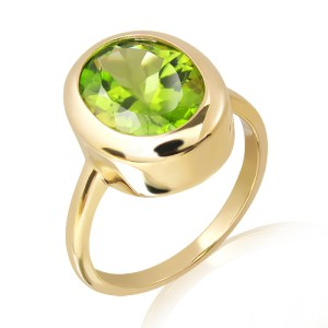 Handmade Peridot Ring in Gold