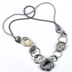 Gold and Silver Contemporary Handmade Necklace