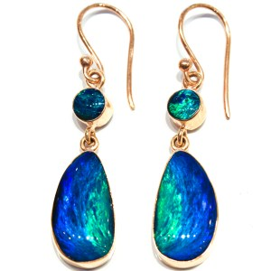Australian Opal Handmade Gold Earrings