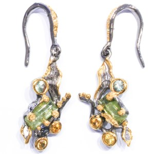 Peridot and Sapphires Contemporary Earrings