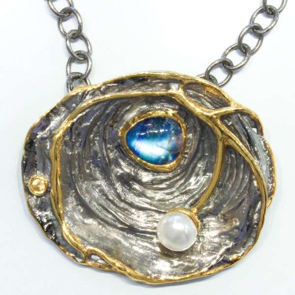 Spectrolite, Pearl and Sapphire Necklace