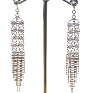 Elegant Mesh Silver Earrings with Zirconia