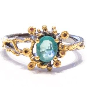 Natural Emerald Contemporary Ring
