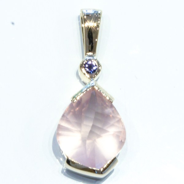 Rose Quartz and Iolite Gold Pendant