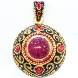 Ruby and Enamel Pendant with Gold Details