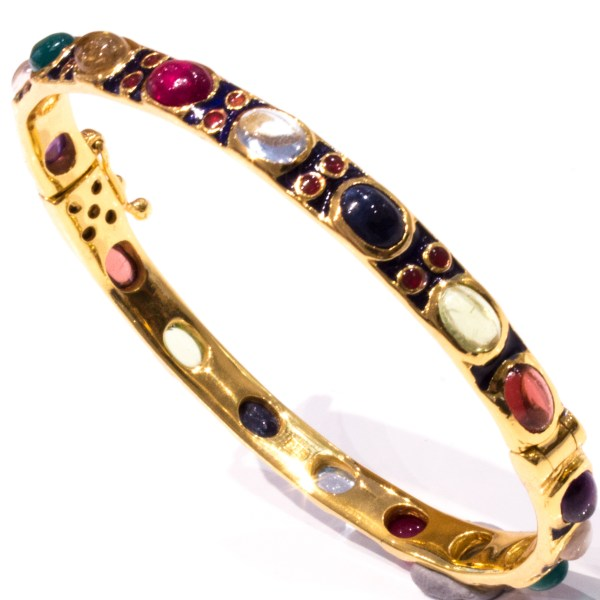 Multi Coloured Stone Bracelet with Enamel and Gold