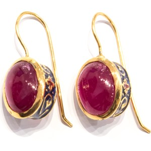 Rubies and Enamel Earrings with Gold details
