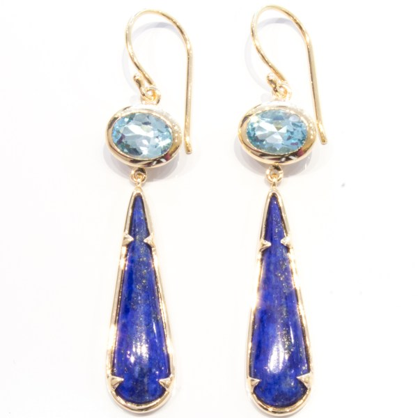 Blue Topaz and Lapis Lazuli Handmade Earrings