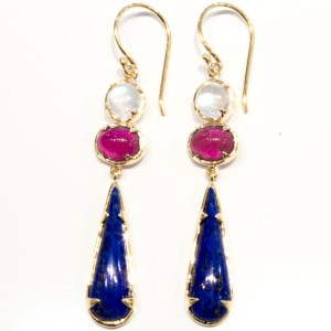 Moonstone, Ruby and Lapis Lazuli Handmade Earrings