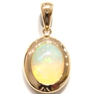 Solid Opal in Handmade Gold Pendant