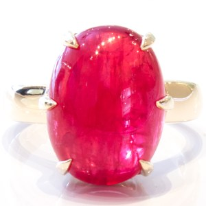 Gem Quality Rhodonite Handmade Gold Ring