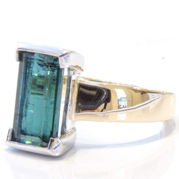 Blue Tourmaline Handmade Gold Ring