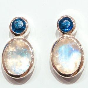 Rainbow Moonstone and Kyanite Handmade Studs