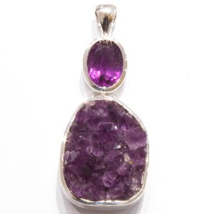Handmade Sterling Silver Pendant with rough and cut Amethysts