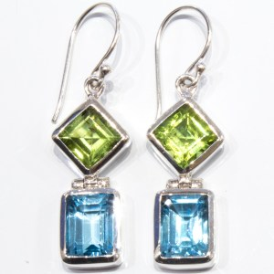 Peridots and Blue Topaz Handmade Earrings