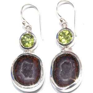Peridots and Coconut Druzy Handmade Earrings