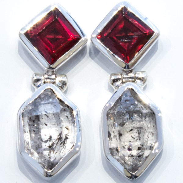 Garnets and Herkimer Diamonds Handmade Studs