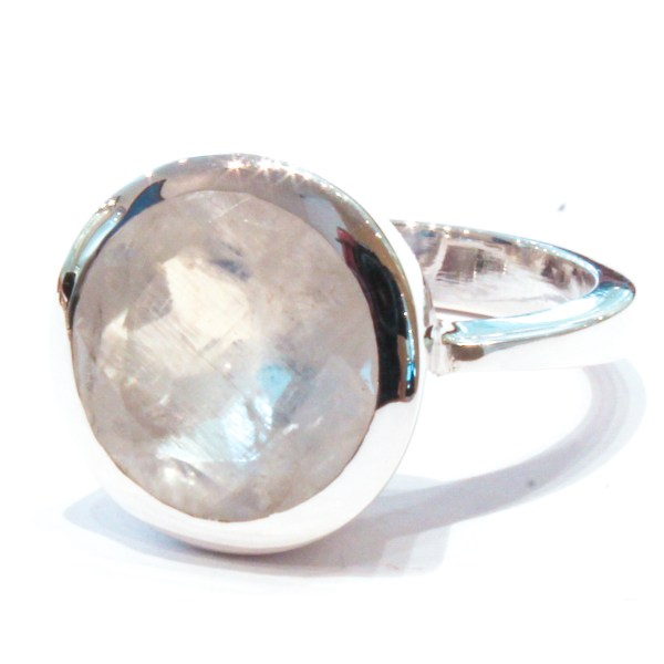 Faceted Rainbow Moonstone Handmade Ring