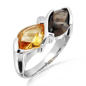 Citrine and Cognac Quartz Ring