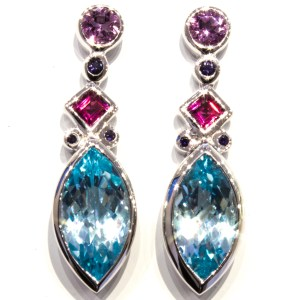 Amethyst, Iolites, Garnet and B Topaz Earrings