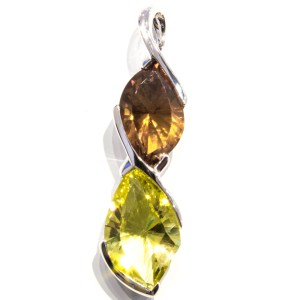 Lemon Quartz and Cognac Quartz Pendant