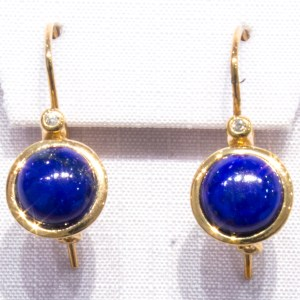 Lapis lazuli and Diamonds Gold Earrings