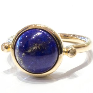 Lapis Lazuli and Diamonds Gold Ring