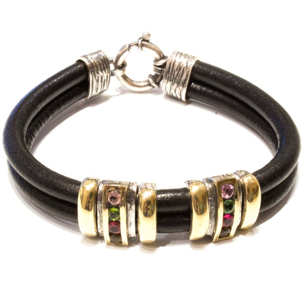 Designer Bracelet With Gold, Silver and Tourmalines