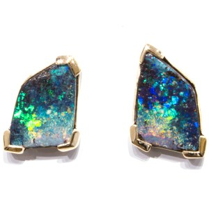 Contemporary Handmade Solid Australian Opal Earrings In Gold