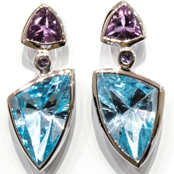 Blue Topaz and Amethyst Laser Faceted Silver Earrings