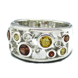 Garnet and Citrine Handmade Silver Ring