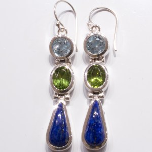 Handmade Blue Topaz Peridot and Lapis Silver Earrings