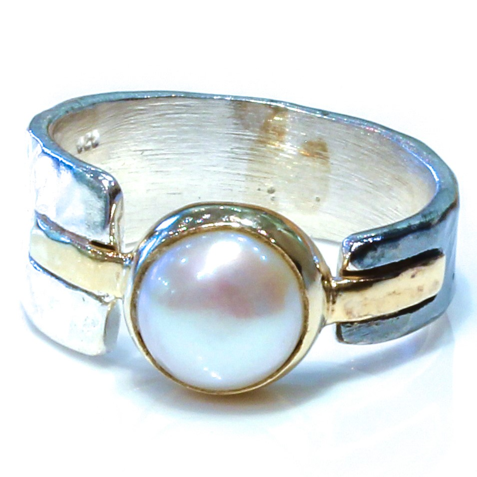 Israeli Gold and Silver Ring with Pearl