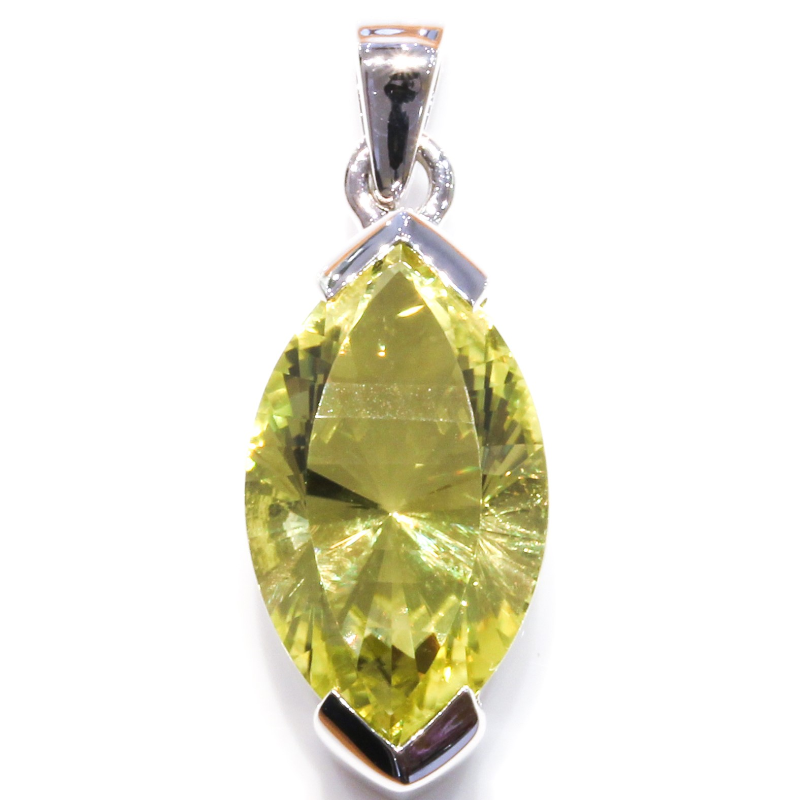Contemporary Lemon Quartz Silver Pendant