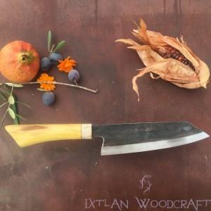 Bunka kitchen knife orange wood, deer horn