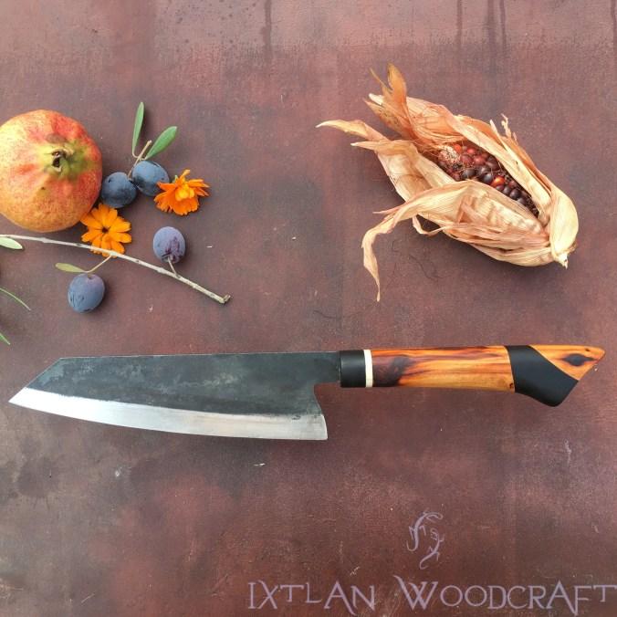 Bunka kitchen knife apple wood, african blackwood, deer horn