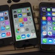 左からiphone4、iphone5、iphone6s:iphone6sに替えました