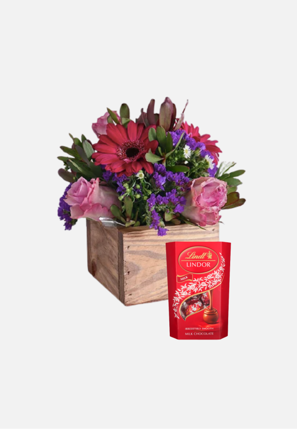 Flowers in Wooden Box & Lindt Surprise
